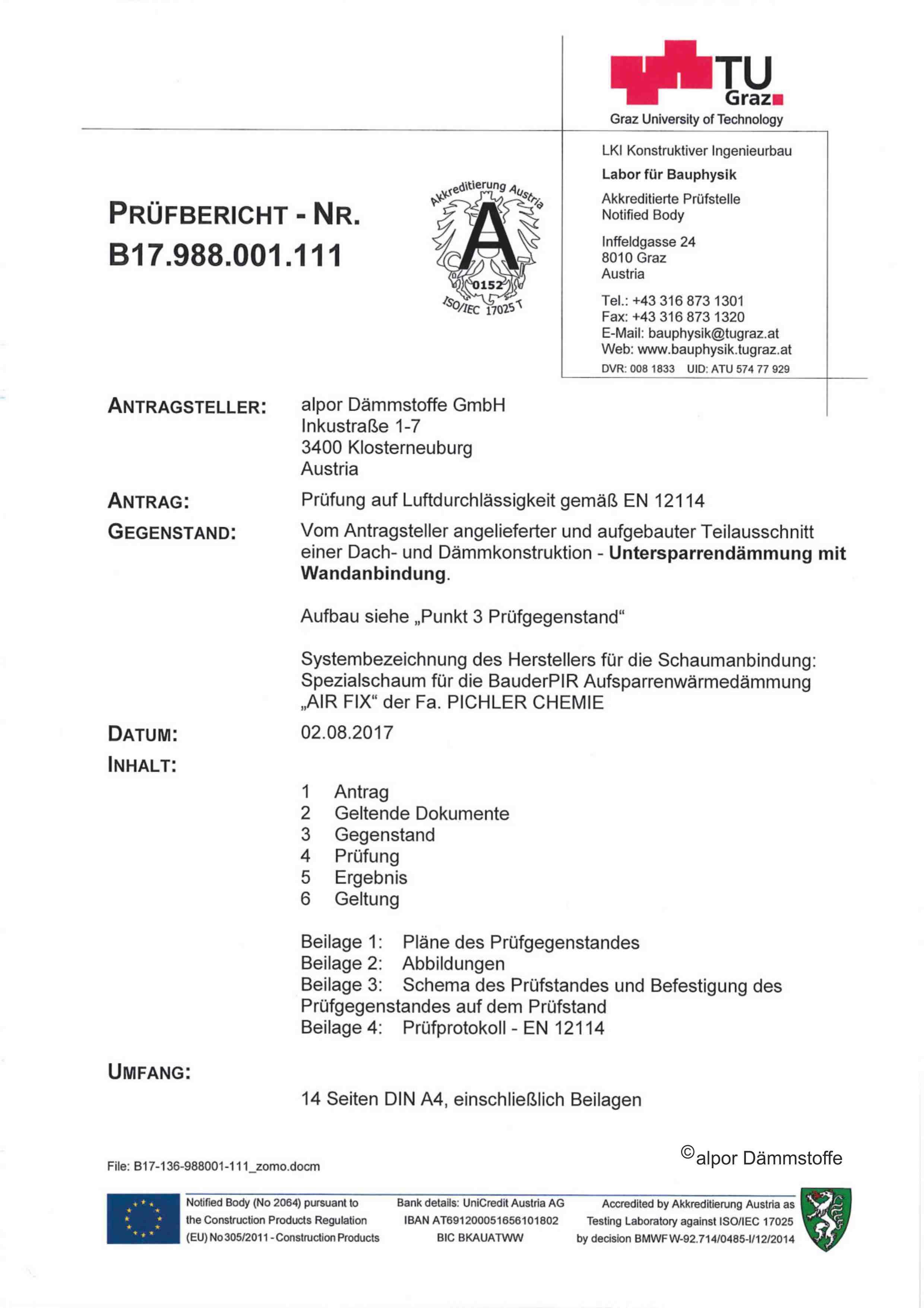 Prüfbericht TU Graz Luftdichtigkeit alpor Dämmfläche Auszug